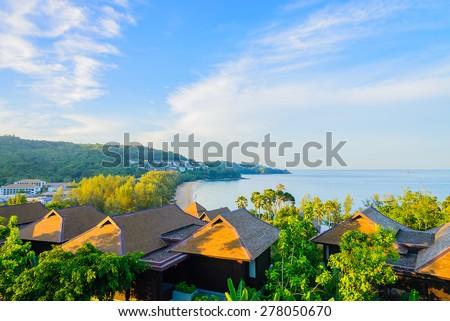 Outdoor balcony deck - stock photo