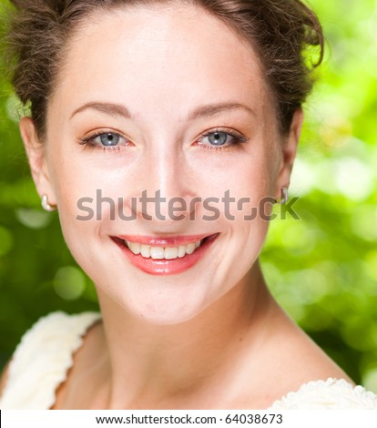 Outdoor Beauty portrait of Young Woman