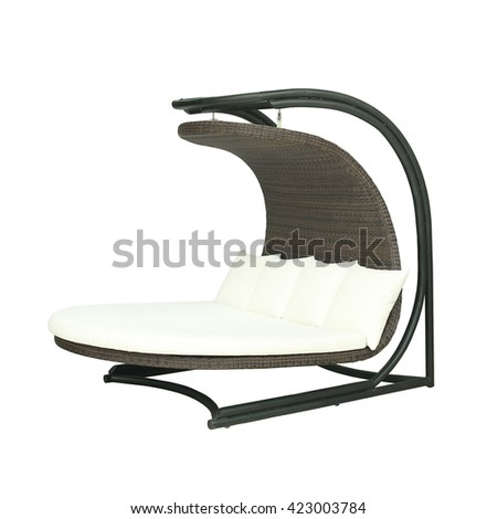 Outdoor bench swing - stock photo