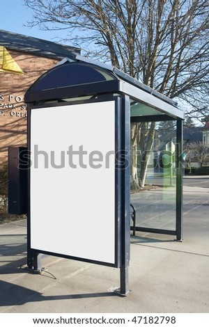 Outdoor blank sign on bus stop - stock photo