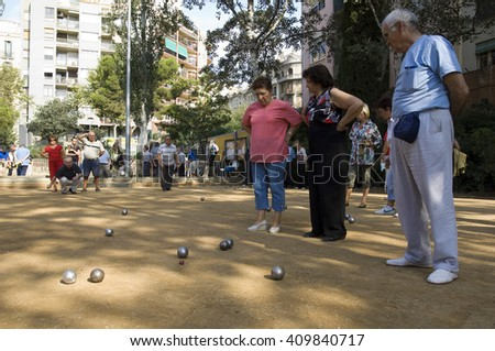 outdoor bowls court in Barcelona, Spain, Europe