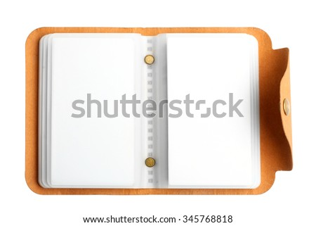 Outdoor business card holder, back cover made of natural material,  lies on a white isolated background - stock photo
