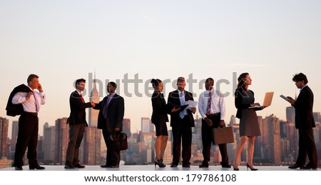 Outdoor Business Meeting in New York City - stock photo