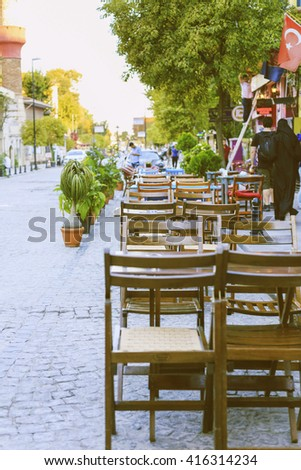 Outdoor Cafe.  - stock photo