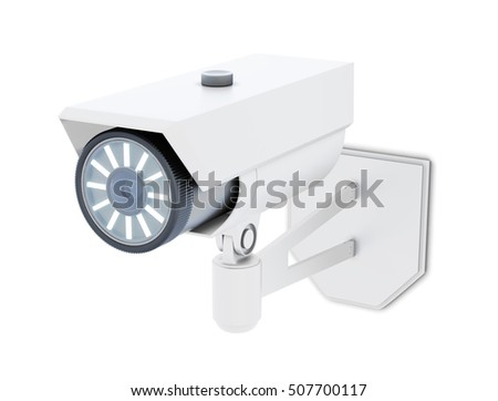 Outdoor CCTV Camera isolated on white background. 3d rendering.