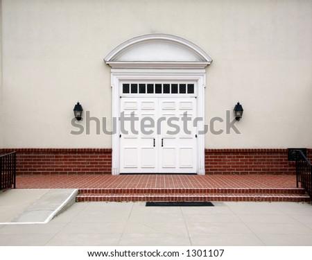 Outdoor Church Patio Background - stock photo