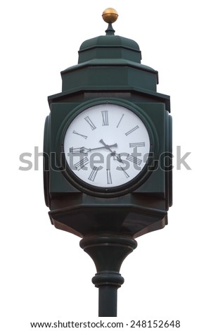 Outdoor clock isolated in white in the center of Prague - stock photo