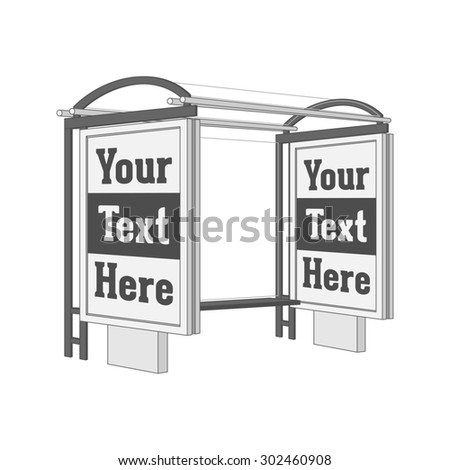 Outdoor commercial Stand with Banner Shield on the Bus Station. Illustration - stock photo