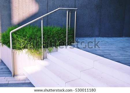 Outdoor Concrete Staircase With Stainless Steel Handrail