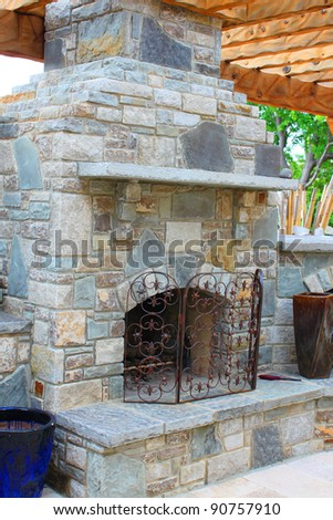Outdoor cooking stove and fireplace - stock photo