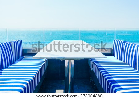 Outdoor deck with beautiful sea background