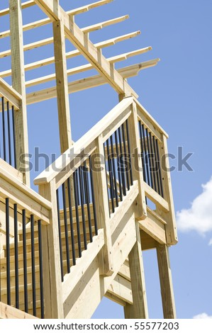 Outdoor deck. Wood construction - stock photo