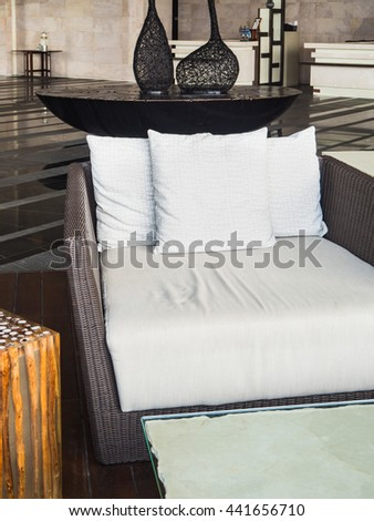 Outdoor decoration with sofa pillows - stock photo