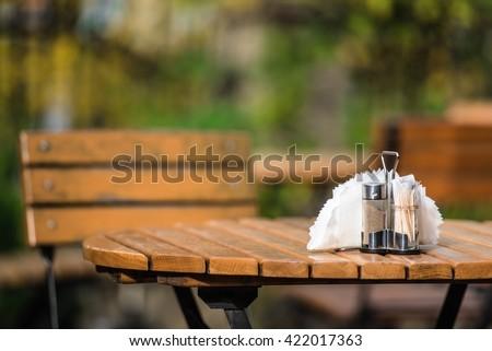 Outdoor Diner Bench Restaurant Table Accessories Stock Photo - Restaurant table accessories