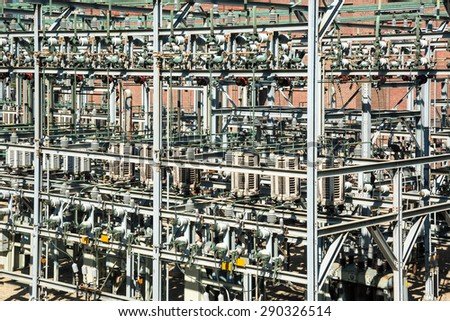 Outdoor electrical substation - stock photo