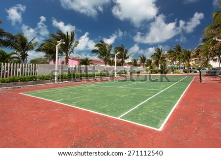 Outdoor empty tennis court   - stock photo