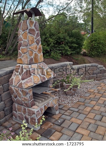 Outdoor fireplace from stone, general view - stock photo