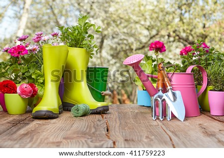 Outdoor gardening tools on old wooden table