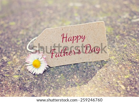 outdoor greeting card with text - happy fathers day - stock photo