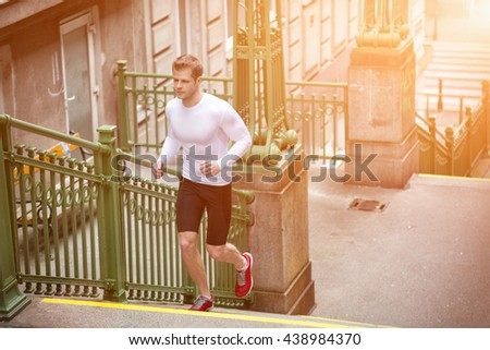 Outdoor health and fitness concept in the city - stock photo