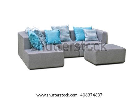 Outdoor indoor sofa with water resistant pillows