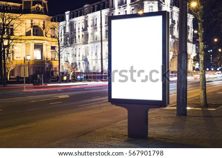 Outdoor Advertising Billboard Kiosk Stock Photo - Street advertising