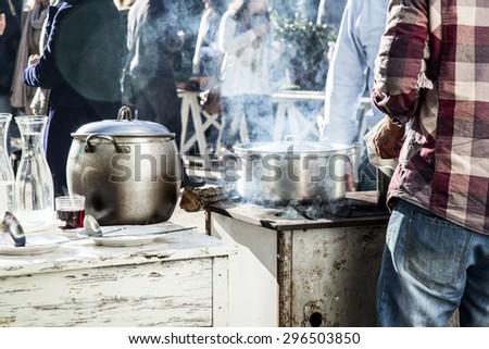 outdoor kitchen - stock photo