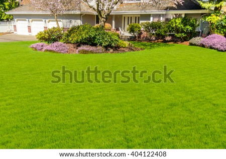 Outdoor landscape garden in North Vancouver, British Columbia, Canada. - stock photo