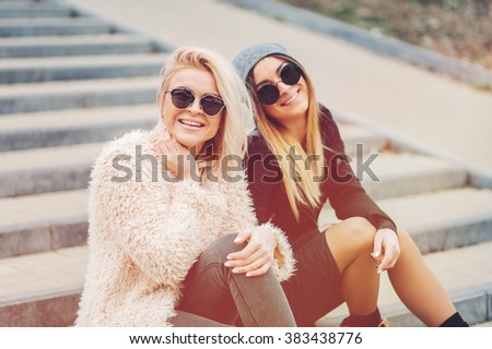 Outdoor Lifestyle Portrait Of Two Best Friends Smiling And Having Fun Together Enjoy Eachother
