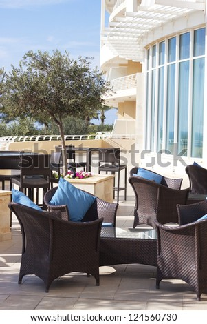 Outdoor lounge 5 star hotel - stock photo
