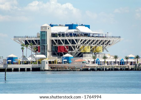 Outdoor mall at pier - stock photo