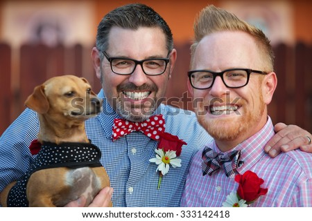 Outdoor marriage ceremony for male gay couple - stock photo