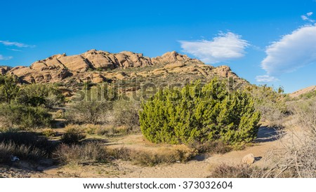 Outdoor nature in the wilderness of Vasquez Rocks State Park near Agua Dulce California. - stock photo
