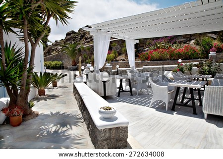 outdoor of a hotel on a island     - stock photo