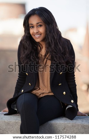 Outdoor of a  portrait happy young african american teenage girl - stock photo
