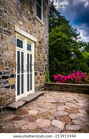 Outdoor patio at the Cylburn Mansion, Cylburn Arboretum, Baltimore, Maryland. - stock photo