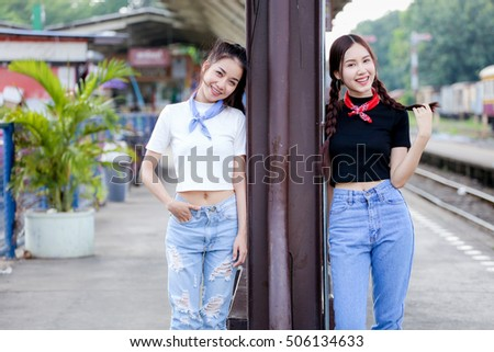 outdoor portrait  asian girl   at train  station