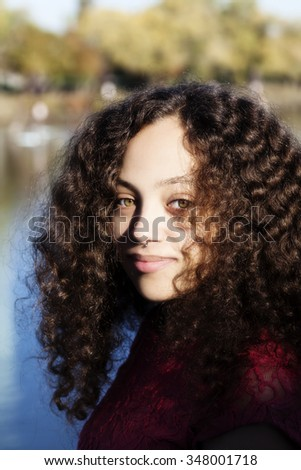 Outdoor Portrait At Sacramento River Mixed Heritage Woman