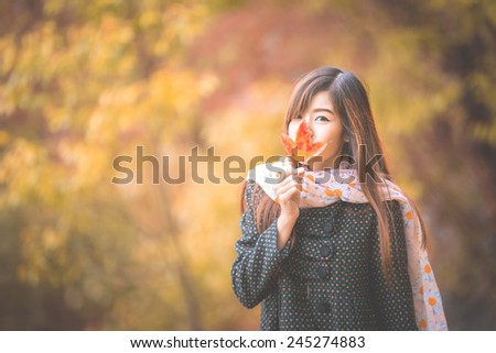 Outdoor portrait of a Beautiful asian girl vintage tone