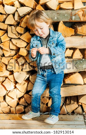 Outdoor portrait of a cute toddler boy against firewood, on a nice sunny day - stock photo
