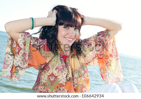 Outdoor portrait of a fresh and lovely woman - stock photo