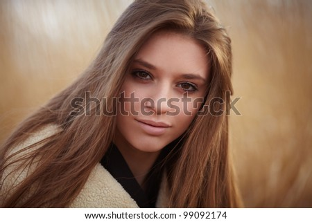 outdoor portrait of beauty girl - stock photo