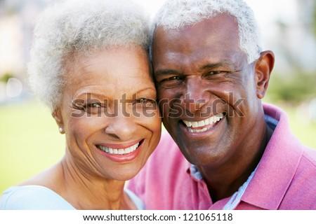 Outdoor Portrait Of Happy Senior Couple - stock photo