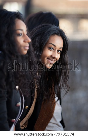Outdoor Portrait  of happy young african american teenage girls - stock photo