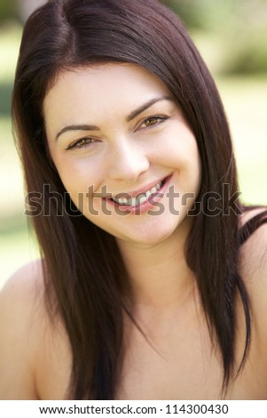 Outdoor Portrait Of Smiling Woman - stock photo