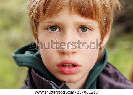 Outdoor portrait of 6 years old boy - stock photo
