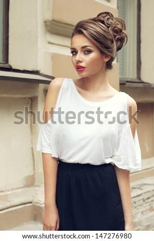 outdoor portrait of you beautiful stylish girl  - stock photo