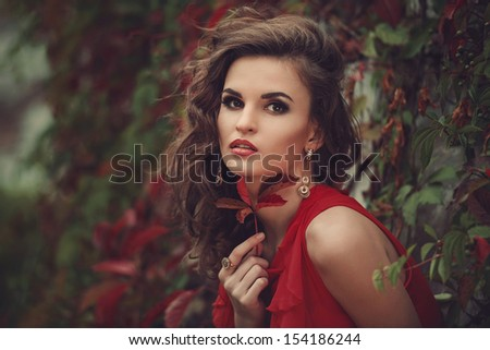 Outdoor portrait of young beautiful woman