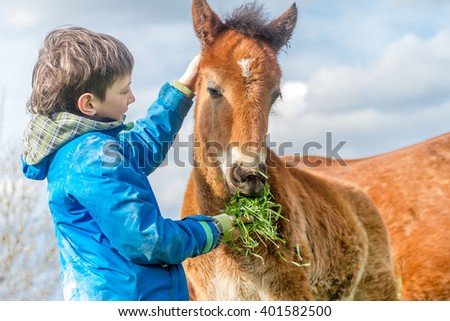 outdoor portrait of young european boy feeding horse on farm - stock photo