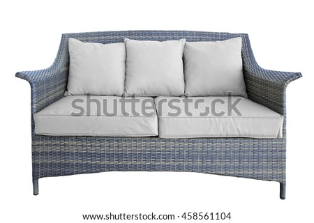 Outdoor Rattan Grey Lounge Garden Couch With Two Seat And Cushions, Made From Eco-Friendly Poly Wicker Material. Weather Resistant. Isolated On White Background - stock photo